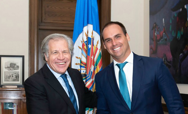 hijo-bolsonaro-con Luis Almagro -estados-unidos-sancionar-cuba-venezuela