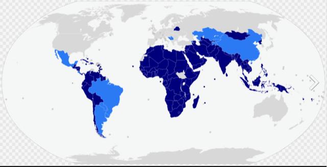 Alliansfria ländernas rörelse, mörkblå medlemmar, ljusblå observatörer