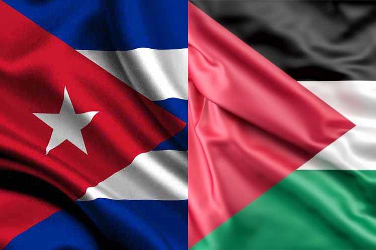 Cuba-Palestina-banderas